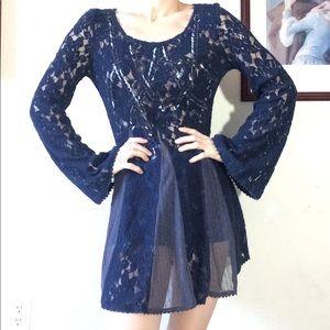 Free People Navy Blue Belle Sleeve Lace Bead Dress